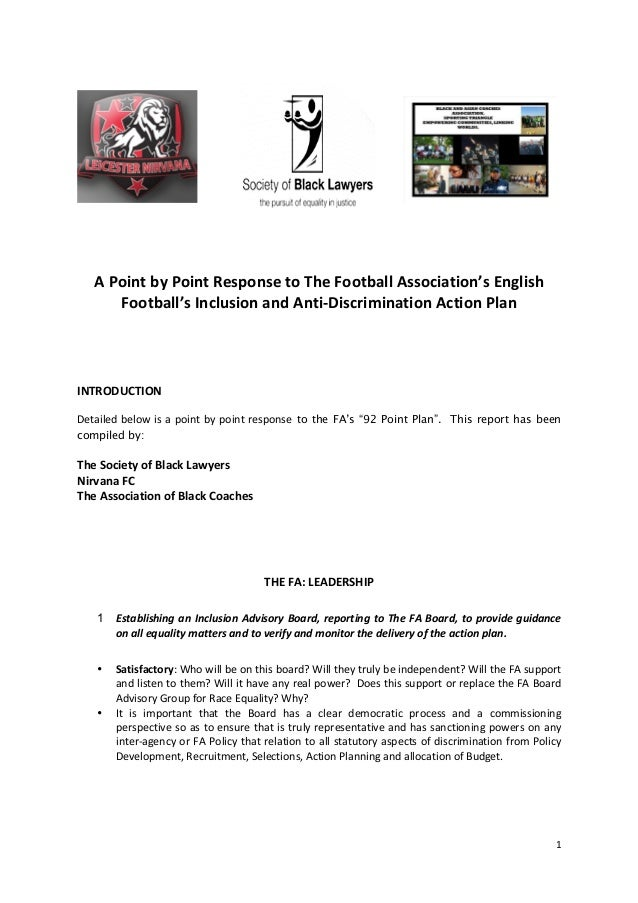 Response to the FA's Inclusion & Anti-Discrimination Action Plan.