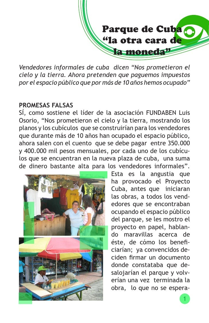 """Parque de Cuba                               """"la otra cara de                                 la moneda"""" Vendedores inform..."""