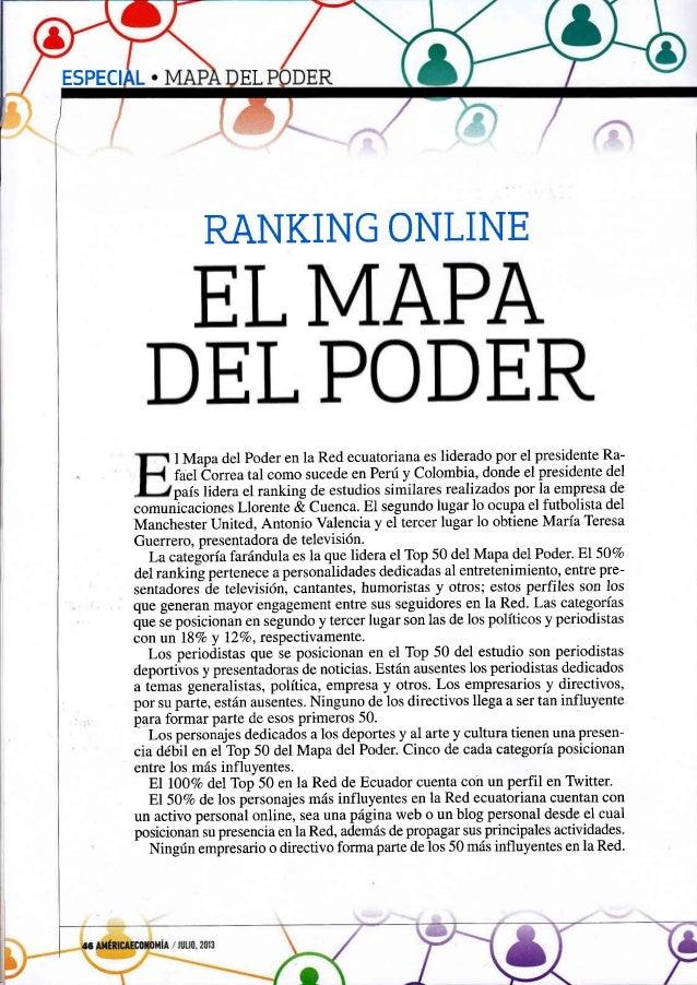ESPECI EL RANKING ONLINE I Mapa del Poder en la Red ecuatoriana es liderado por el presidente Ra- fael Óorrea tal como suc...