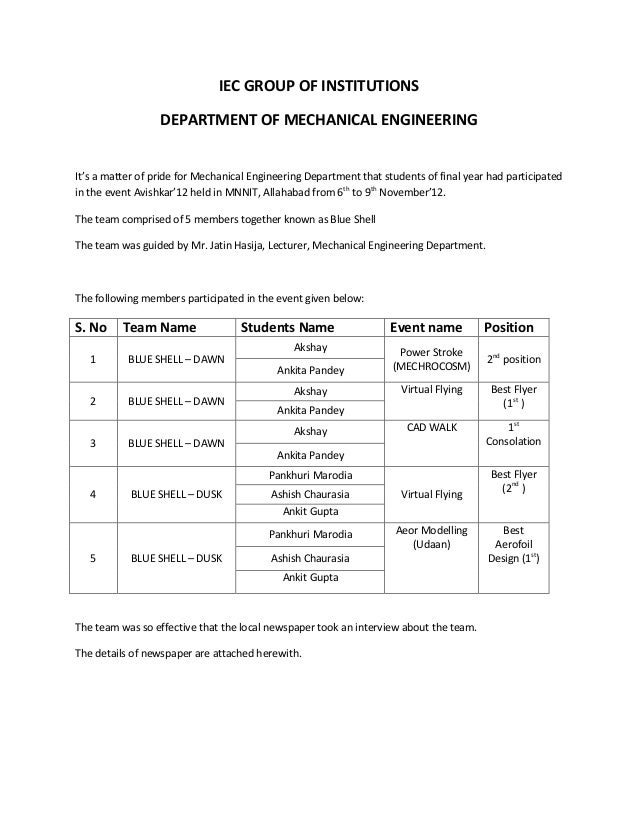 Participation of Mechanical Engineering students at MNNIT, Allahabad on 6th Nov to 9th Nov 2012
