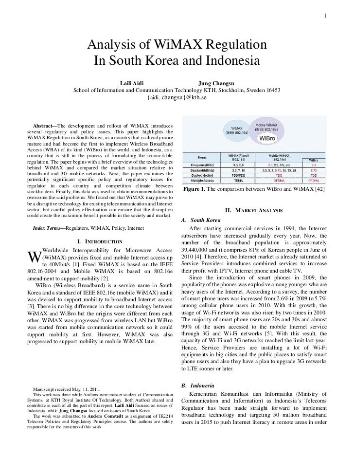 Analysis of WiMAX regulation in South Korea and Indonesia