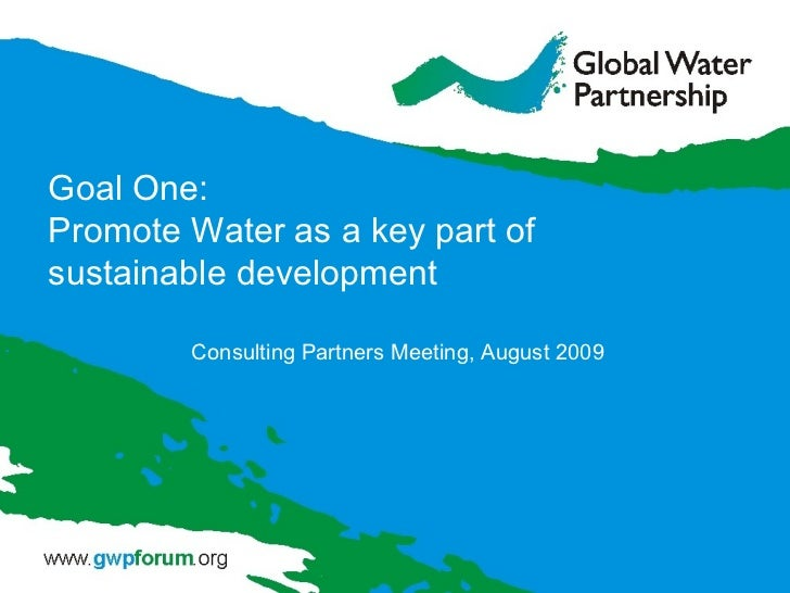 Goal One: Promote Water as a key part of sustainable development Consulting Partners Meeting, August 2009