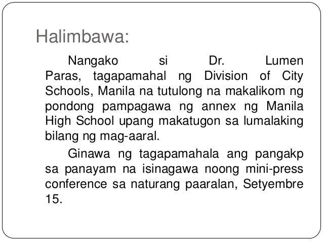 pangungusap ng lathalain Noong 2000, binigyang kahulugan ng asian development bank economist (at  kasalukuyang socioeconomic planning secretary) na si ernesto.