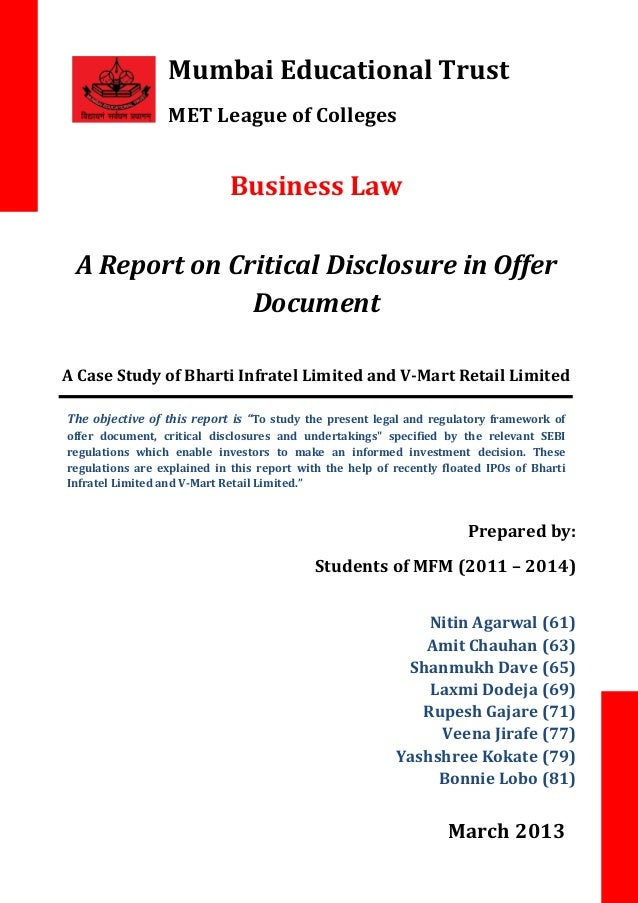 Mumbai Educational Trust MET League of Colleges  Business Law A Report on Critical Disclosure in Offer Document A Case Stu...