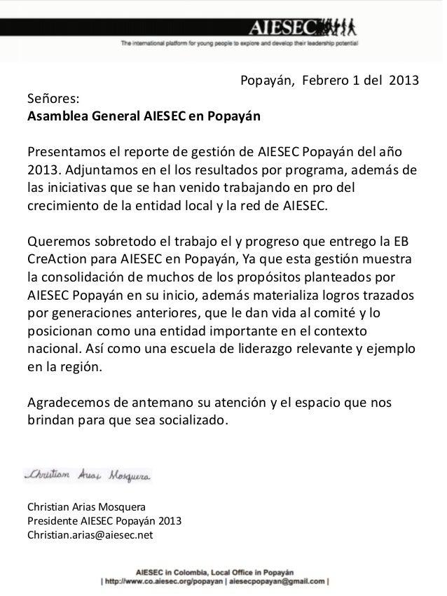 Reporte de gestión AIESEC en Popayán 2013