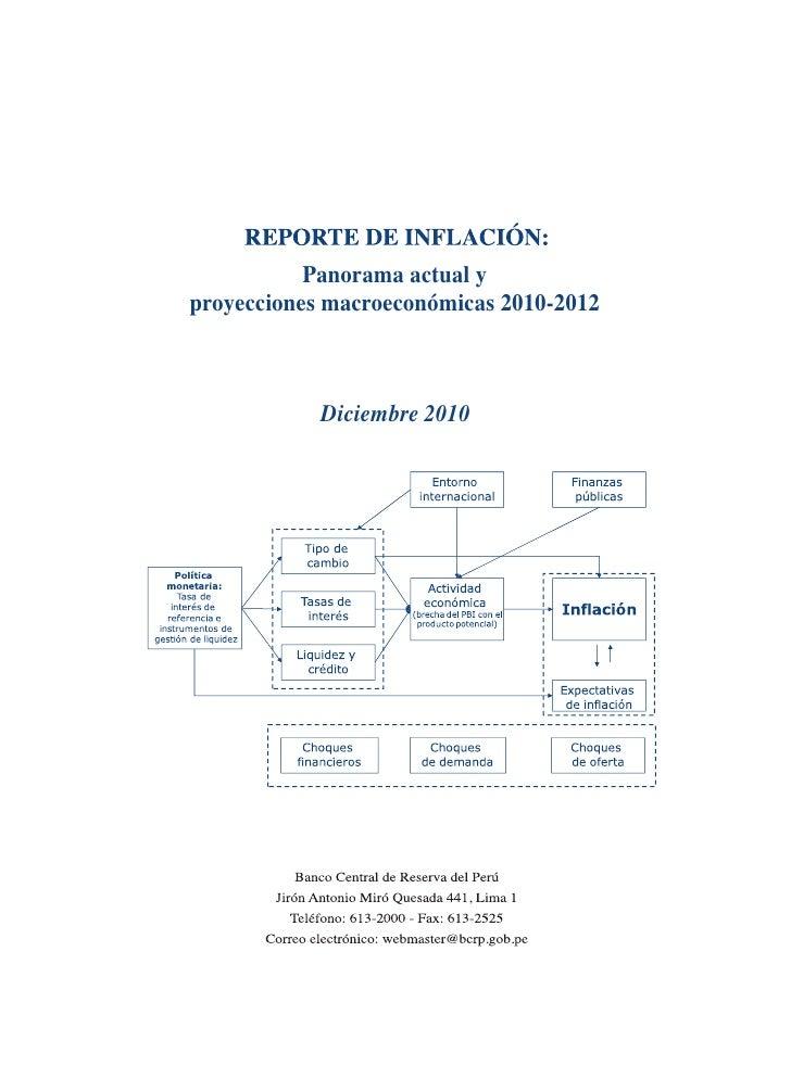 Panorama actual yproyecciones macroeconómicas 2010-2012            Diciembre 2010