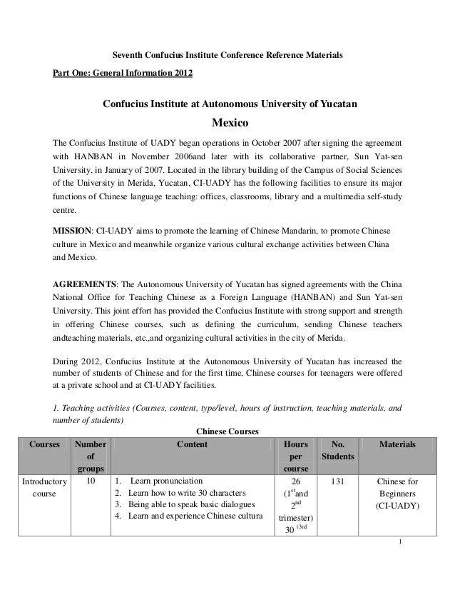 1 Seventh Confucius Institute Conference Reference Materials Part One: General Information 2012 Confucius Institute at Aut...