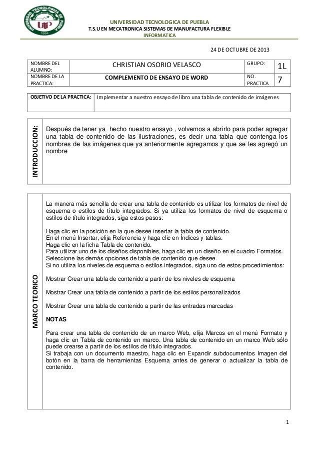 UNIVERSIDAD TECNOLOGICA DE PUEBLA T.S.U EN MECATRONICA SISTEMAS DE MANUFACTURA FLEXIBLE INFORMATICA  24 DE OCTUBRE DE 2013...