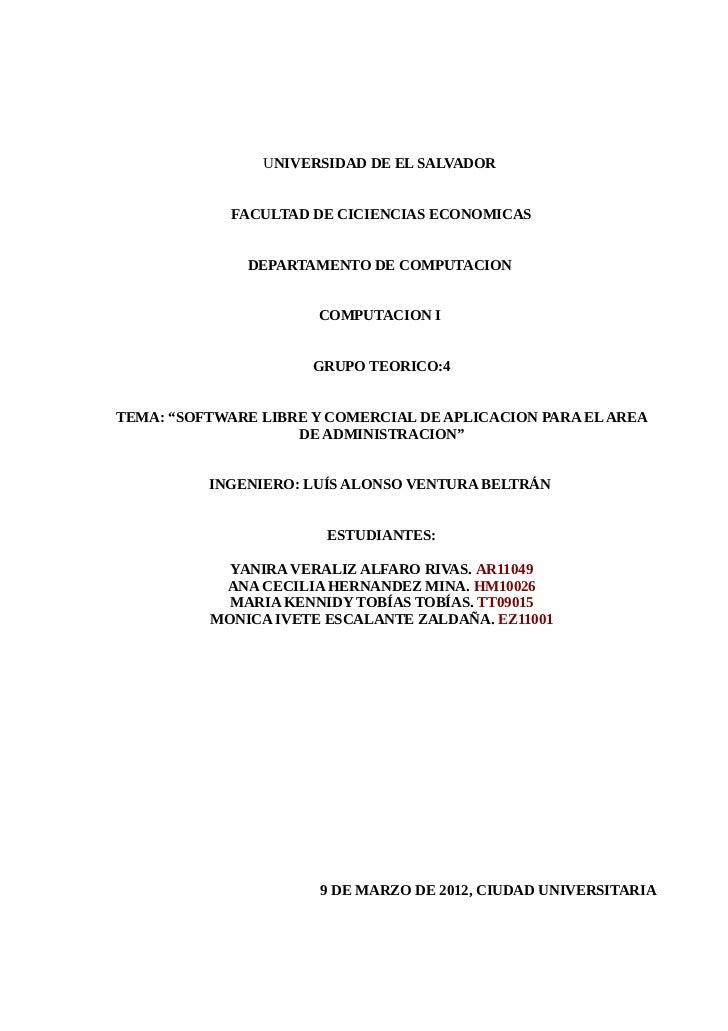 UNIVERSIDAD DE EL SALVADOR             FACULTAD DE CICIENCIAS ECONOMICAS              DEPARTAMENTO DE COMPUTACION         ...