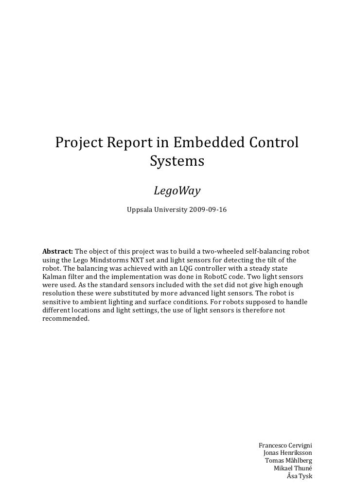 Project Report in Embedded Control                 Systems                                   LegoWay                      ...