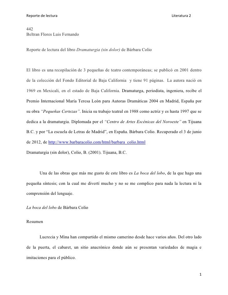 Reporte de lectura                                                              Literatura 2442Beltran Flores Luis Fernand...
