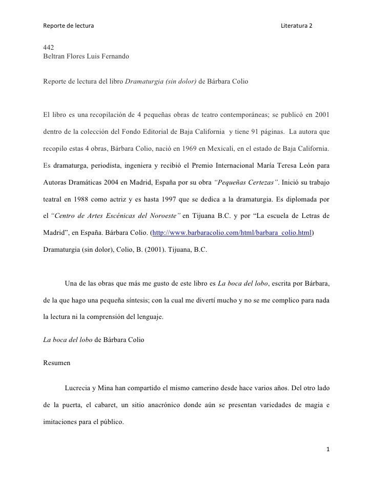 Reporte de lectura                                                               Literatura 2442Beltran Flores Luis Fernan...