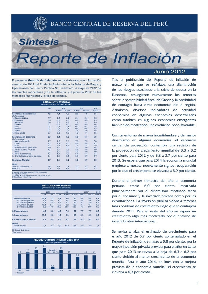 BANCO CENTRAL DE RESERVA DEL PERÚ         Síntesis    Reporte de Inflación                                                ...