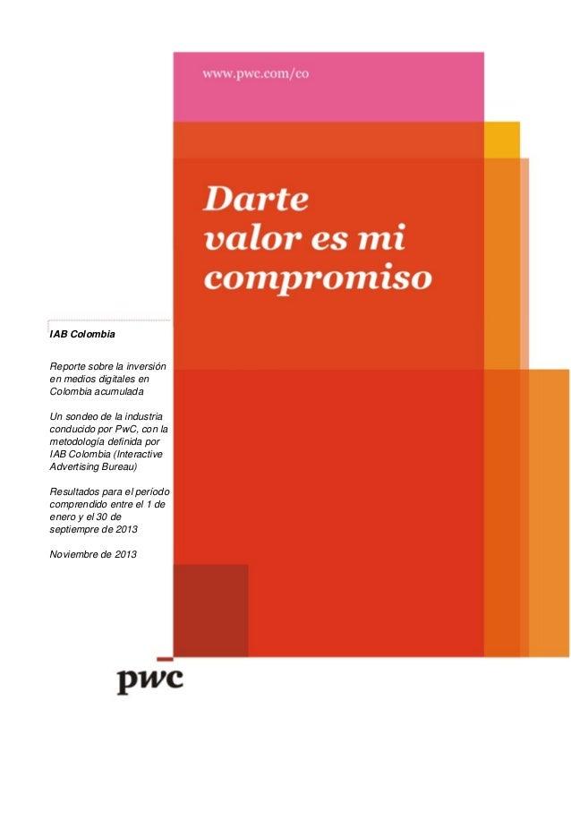 Reporte de inversión en medios digitales acumulado de enero a septiembre de 2013