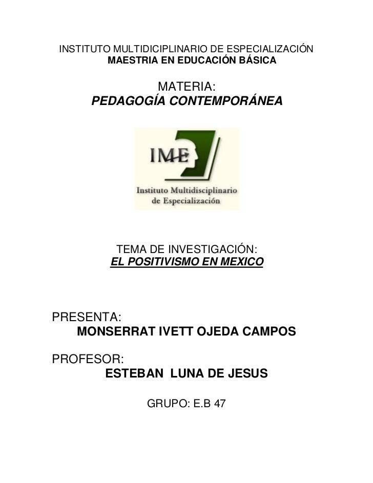 INSTITUTO MULTIDICIPLINARIO DE ESPECIALIZACIÓN         MAESTRIA EN EDUCACIÓN BÁSICA             MATERIA:     PEDAGOGÍA CON...