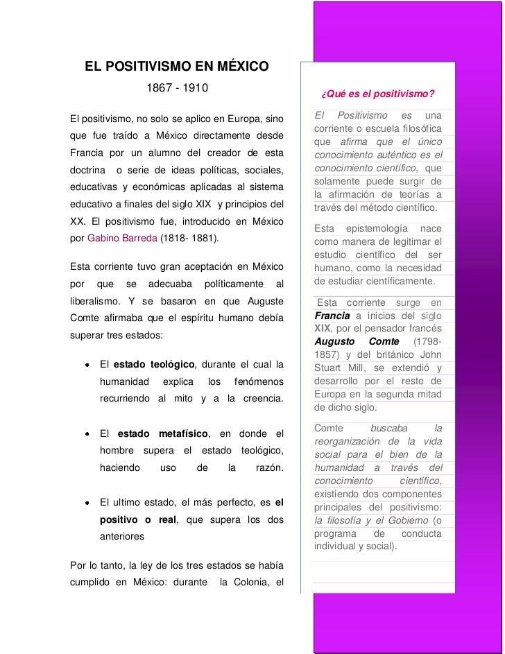 positivismo en el porfiriato pdf