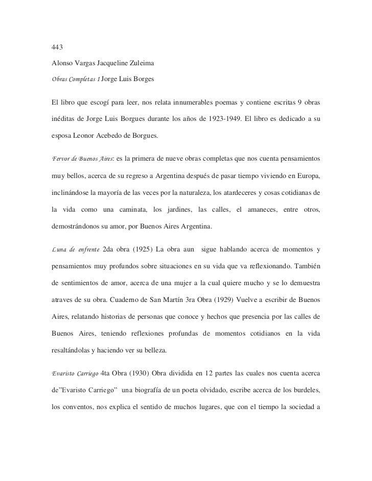 443<br />Alonso Vargas Jacqueline Zuleima<br />Obras Completas 1 Jorge Luis Borges<br />El libro que escogí para leer, nos...