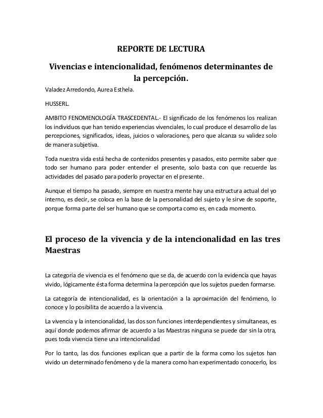 REPORTE DE LECTURA Vivencias e intencionalidad, fenómenos determinantes de la percepción. Valadez Arredondo, Aurea Esthela...