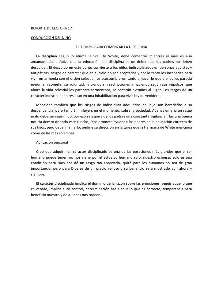 REPORTE DE LECTURA 17CONDUCCION DEL NIÑO                           EL TIEMPO PARA COMENZAR LA DISCIPLINA    La disciplina ...