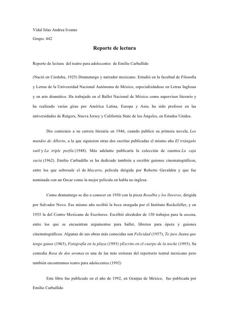 Vidal Islas Andrea IvonneGrupo: 442                                  Reporte de lecturaReporte de lectura del teatro para ...