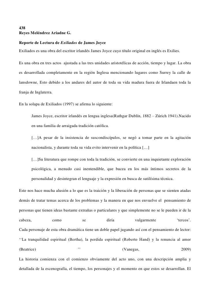 438Reyes Meléndrez Ariadne G.Reporte de Lectura de Exiliados de James JoyceExiliados es una obra del escritor irlandés Jam...