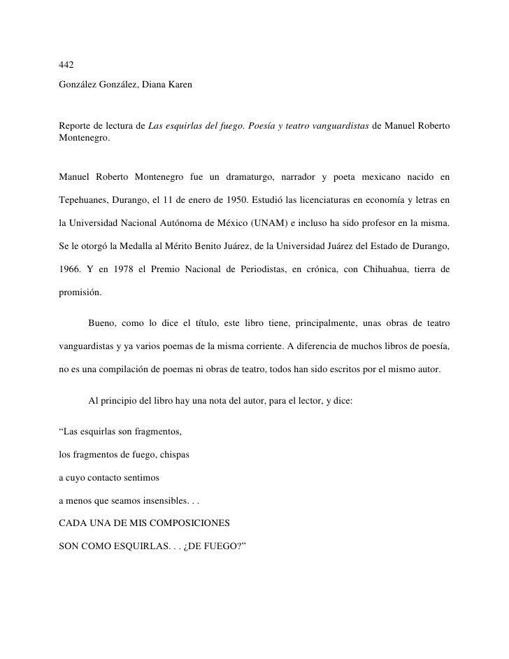 442González González, Diana KarenReporte de lectura de Las esquirlas del fuego. Poesía y teatro vanguardistas de Manuel Ro...