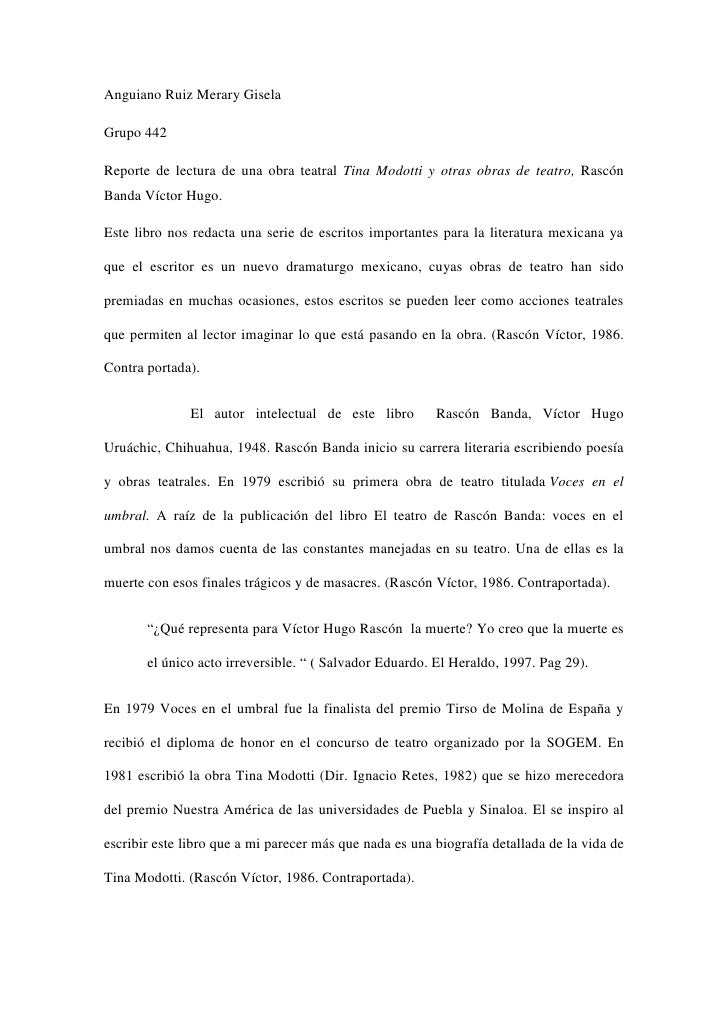 Anguiano Ruiz Merary GiselaGrupo 442Reporte de lectura de una obra teatral Tina Modotti y otras obras de teatro, RascónBan...