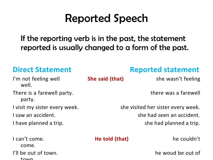 Reported Speech   If the reporting verb is in the past, the statement   reported is usually changed to a form of the past....