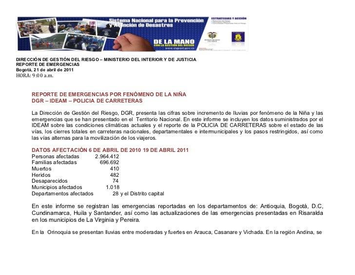 21/04/2011 Reporte Emergencias DGR Ideam Policarreteras 13