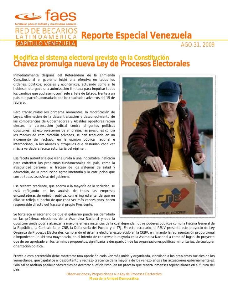 Reporte Especial Venezuela Ley Electoral