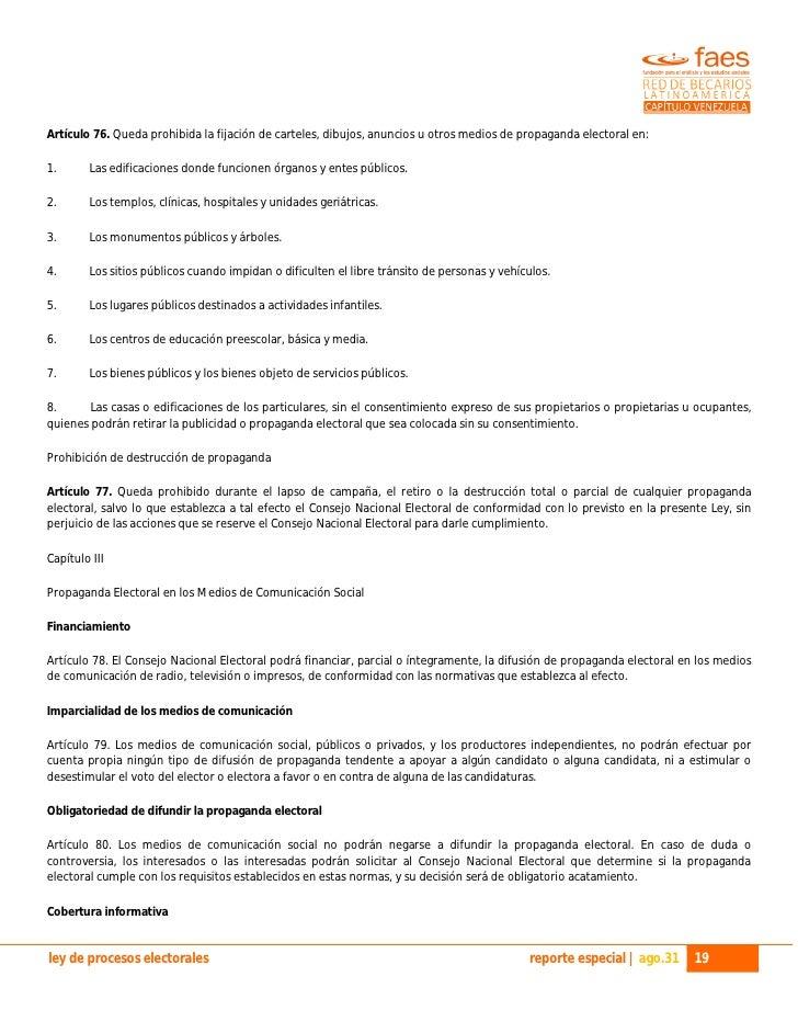 Venezuela ley electoral anexo 1 ley org 225 nica de procesos electorales