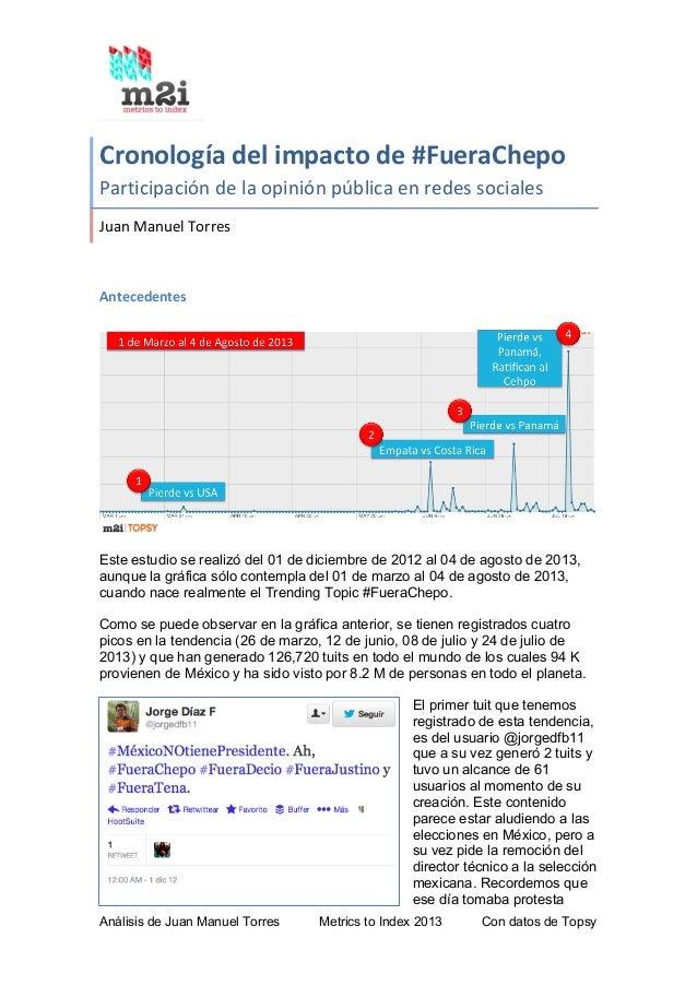 Análisis de Juan Manuel Torres Metrics to Index 2013 Con datos de Topsy Cronología  del  impacto  de  #FueraChepo...