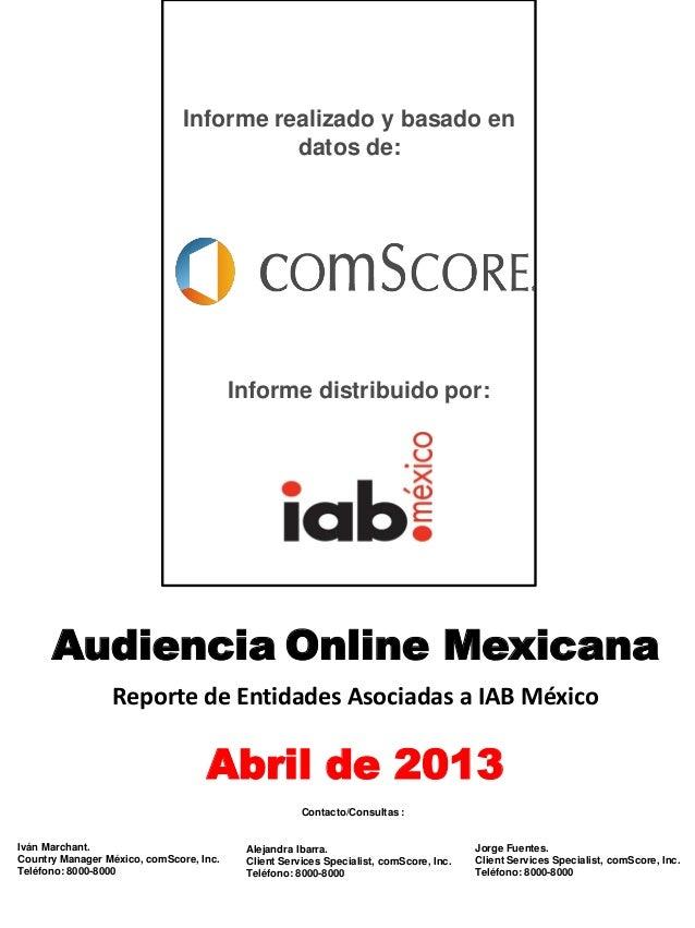 Reporte de audiencias - Abril 2013 por comScore