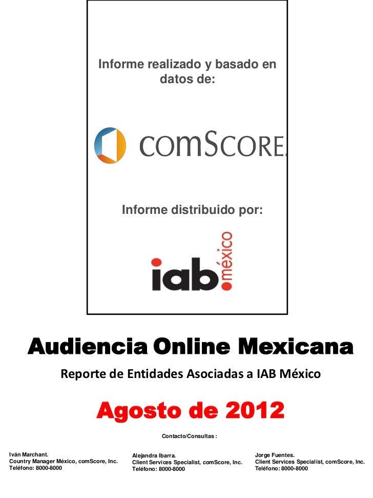 Reporte de audiencias- Agosto 2012 por comScore