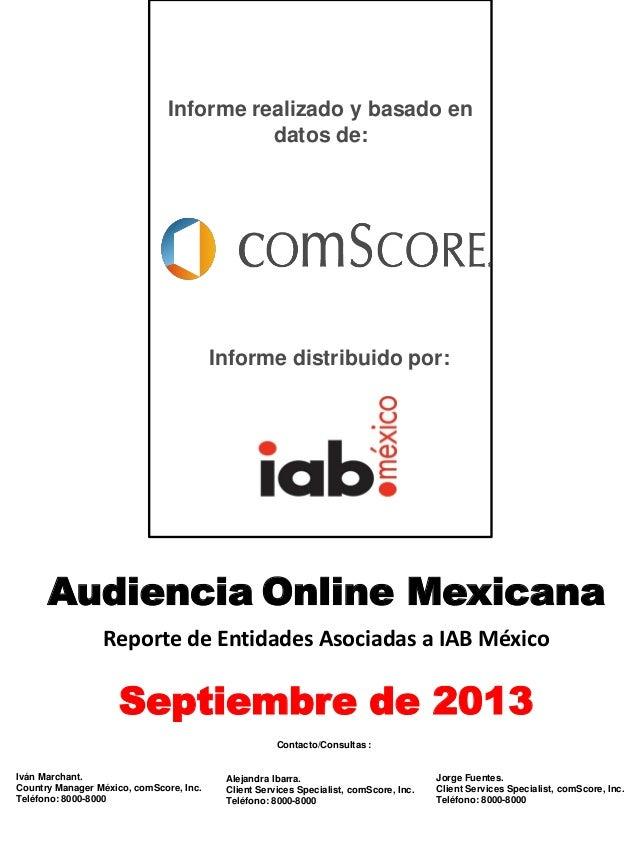 Reporte de audiencias - septiembre 2013, comScore