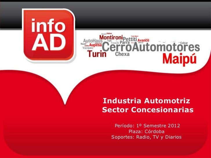 Industria AutomotrizSector Concesionarias   Período: 1º Semestre 2012         Plaza: Córdoba  Soportes: Radio, TV y Diarios
