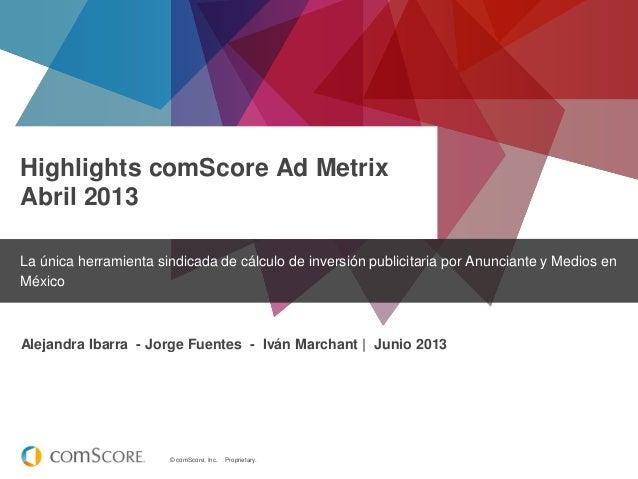 © comScore, Inc. Proprietary.Highlights comScore Ad MetrixAbril 2013La única herramienta sindicada de cálculo de inversión...