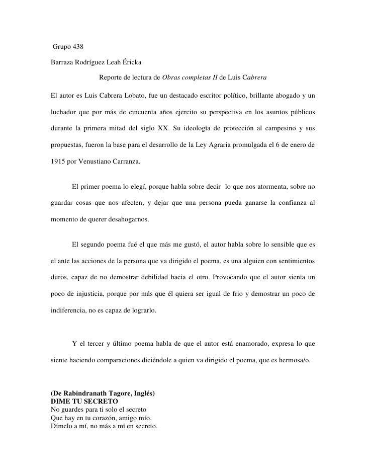 Grupo 438Barraza Rodríguez Leah Éricka                 Reporte de lectura de Obras completas II de Luis CabreraEl autor es...