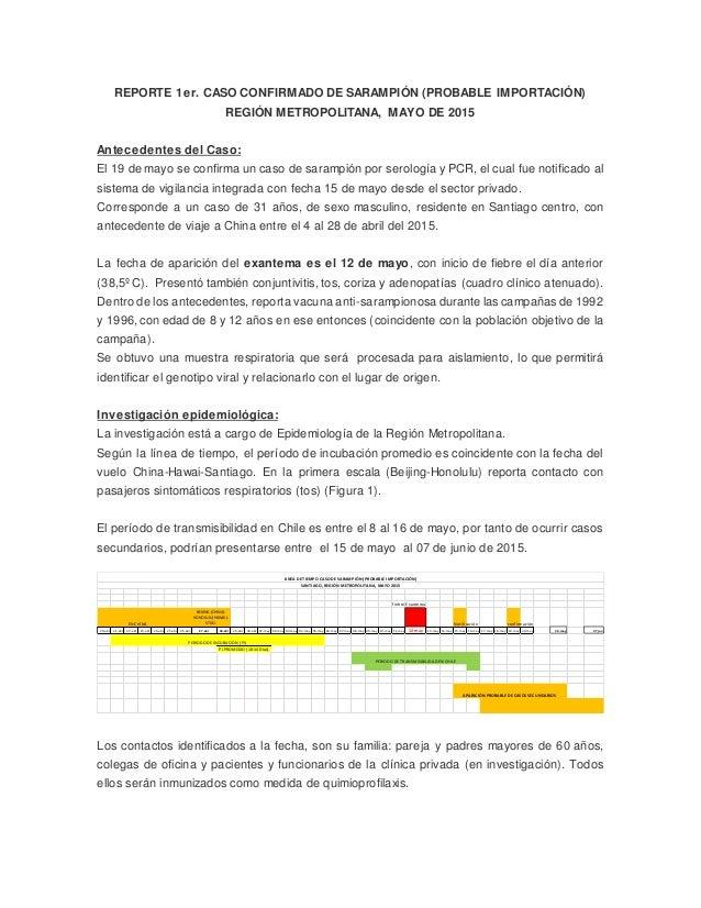 REPORTE 1er. CASO CONFIRMADO DE SARAMPIÓN (PROBABLE IMPORTACIÓN) REGIÓN METROPOLITANA, MAYO DE 2015 Antecedentes del Caso:...