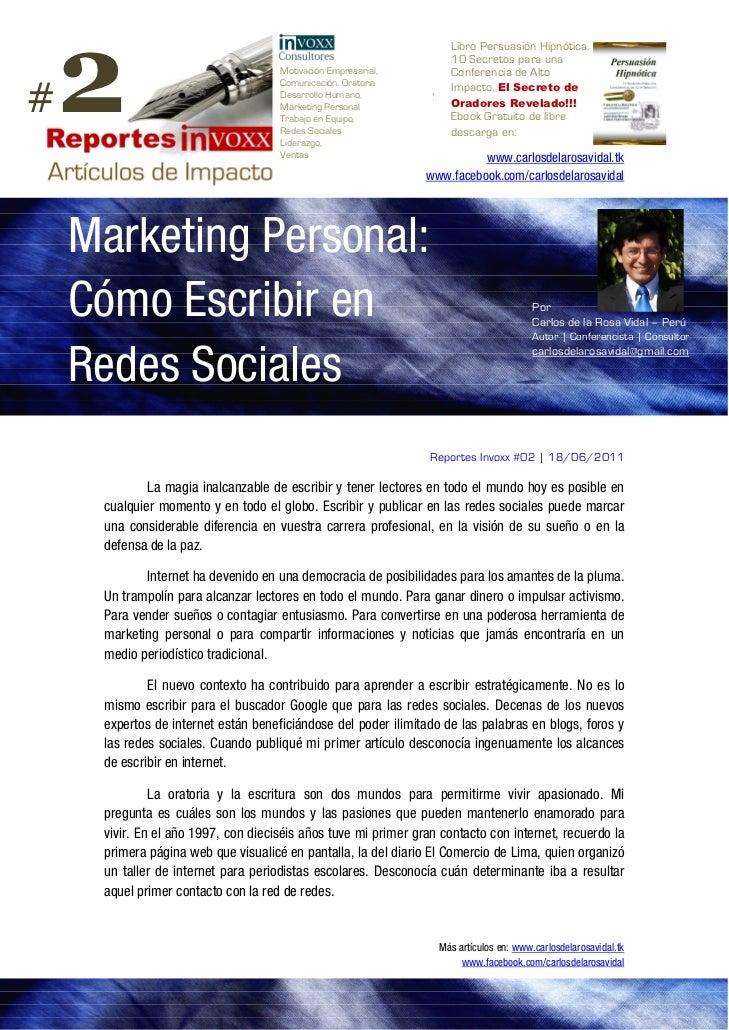 Marketing Personal en Redes Sociales