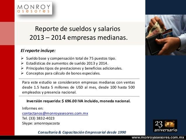 Reporte sueldos y salarios 2013 - 2014