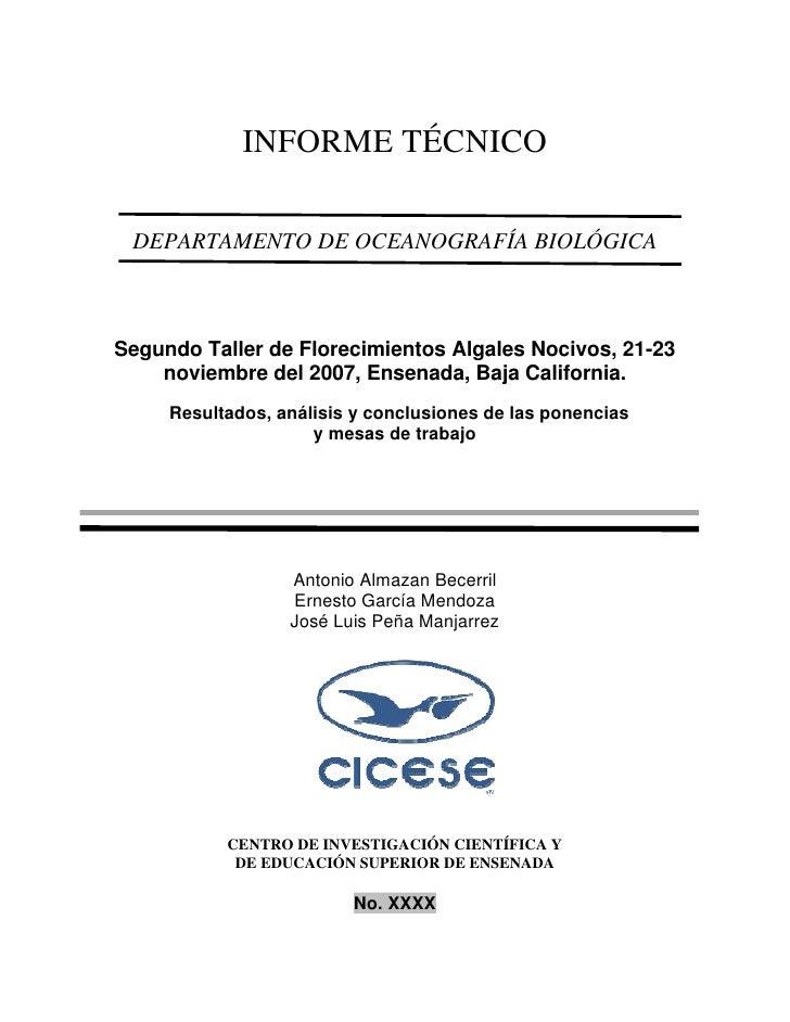 INFORME TÉCNICO   DEPARTAMENTO DE OCEANOGRAFÍA BIOLÓGICA    Segundo Taller de Florecimientos Algales Nocivos, 21-23     no...