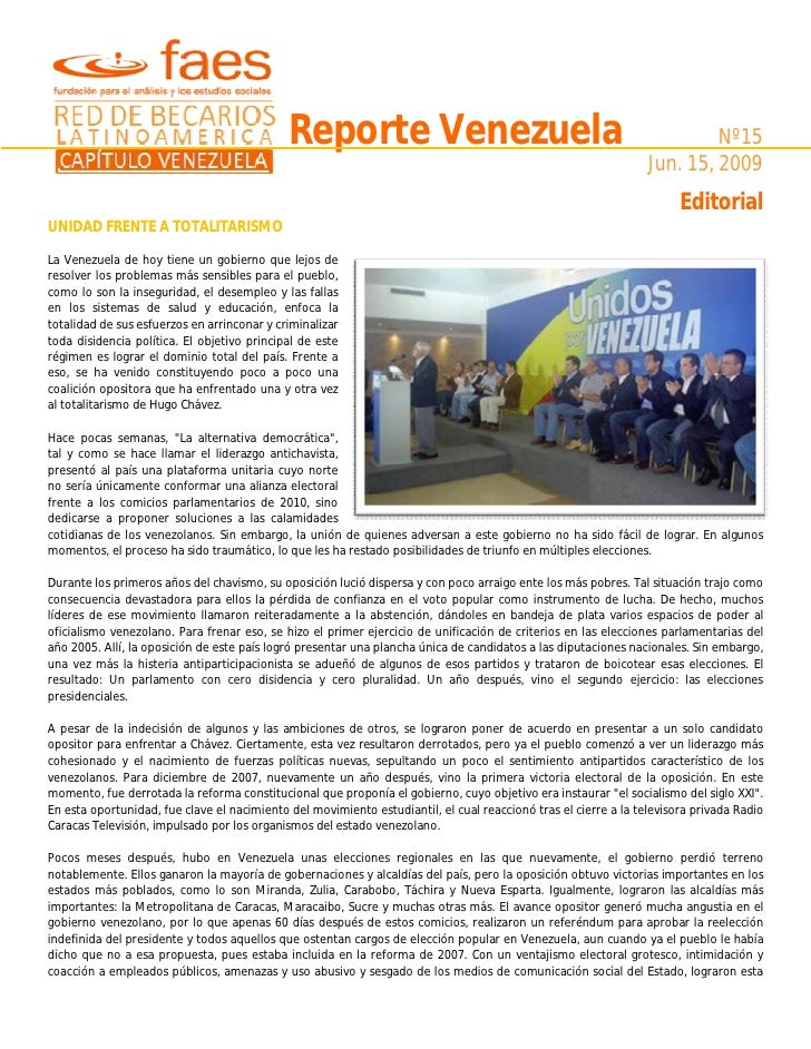 Reporte Venezuela                                                            Nº15                                         ...