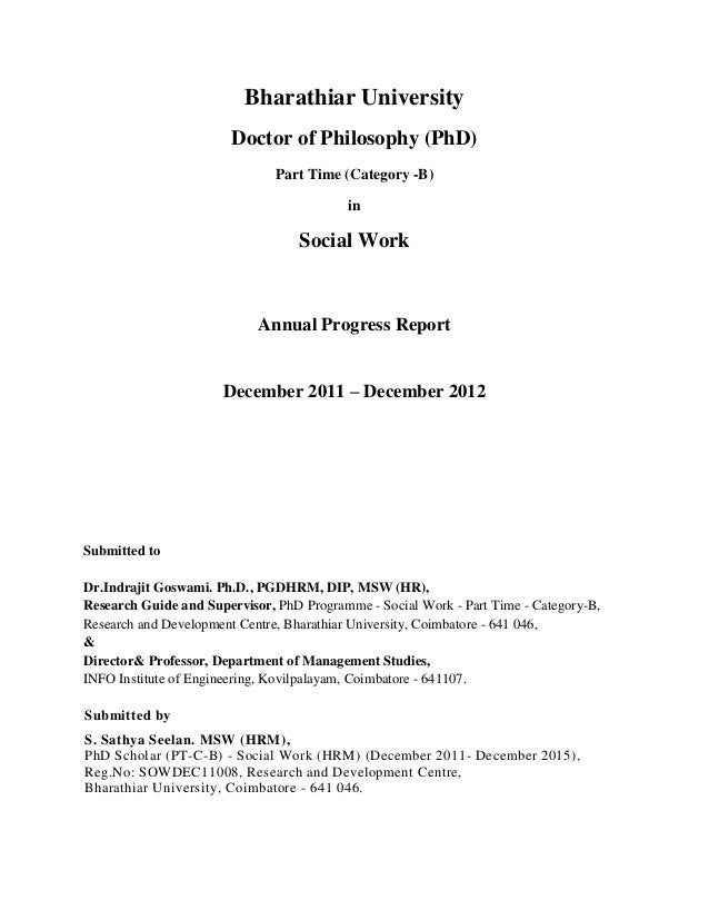 review report for a ph.d. thesis The report will discuss the originality of the project through a review of current research the thesis will detail the thesis project progress report.