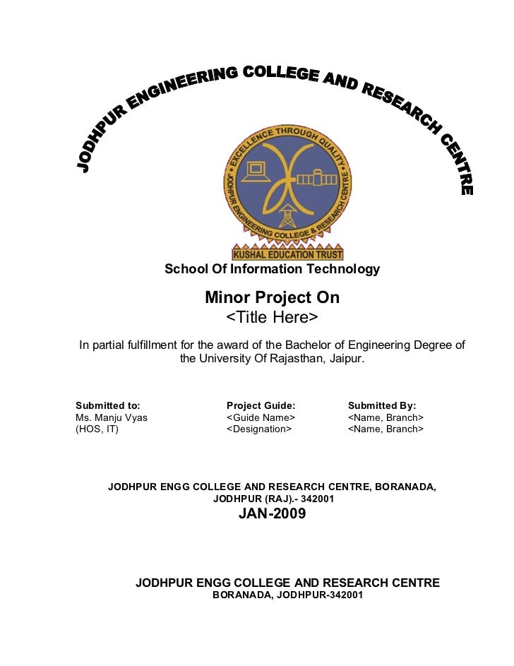 School Of Information Technology                           Minor Project On                            <Title Here> In par...