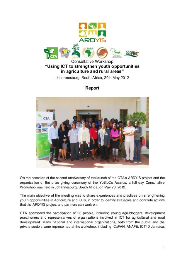 """Consultative Workshop Report: """"Using ICTs to strengthen youth opportunities in agriculture and rural areas"""""""