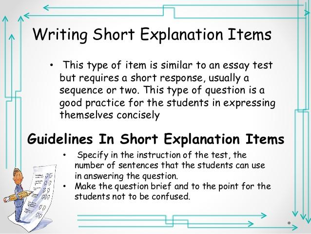 writing essay test items