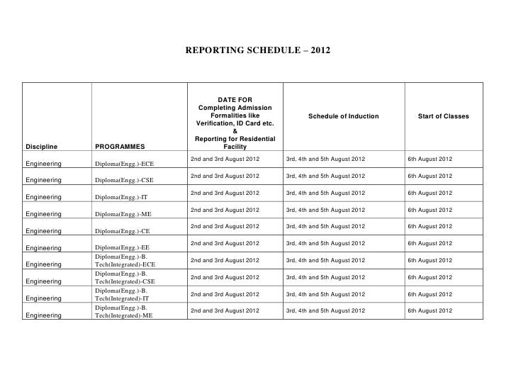 Reporting Schedule, induction, 2012 (2)