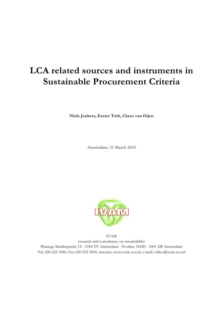 LCA related sources and instruments in   Sustainable Procurement Criteria                       Niels Jonkers, Eszter Tóth...
