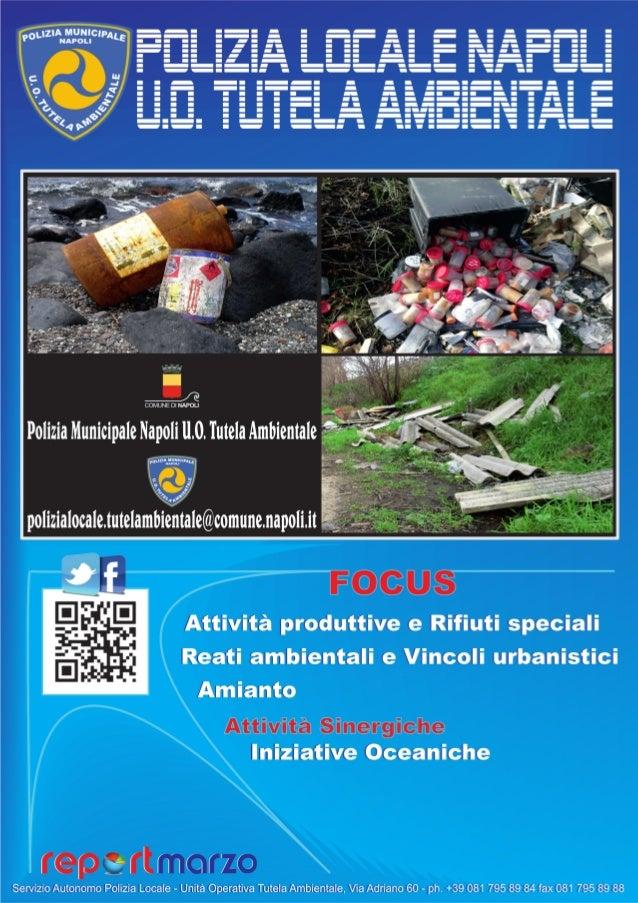 REPORT 3/2013 Premessa La presente relazione rappresenta le attività svolte dall'Unità Operativa Tutela Ambientale nel per...